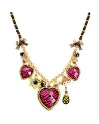 Betsey Johnson - Metallic Zebra Charm Heart Frontal Necklace - Lyst