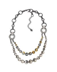 Carolee | Gray Double Row Statement Necklace | Lyst