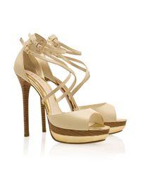 Elie Saab Natural Ankle Strap Platform Sandals