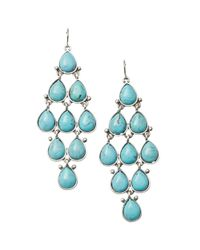 Fossil Blue Turquoise Resin Chandelier Earrings
