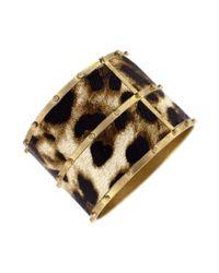 Jessica Simpson - Metallic Gold Tone Leopard Print Bangle - Lyst