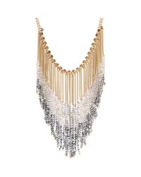 Kenneth Cole Metallic Beaded Chain Fringe Statement Necklace