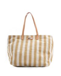 Mango | Natural Twotone Striped Shopper Handbag | Lyst