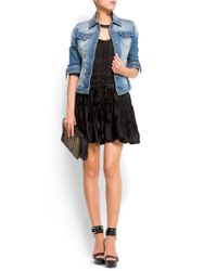 Mango | Black Distressed Effect Denim Jacket | Lyst