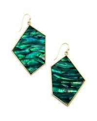 Rachel Roy | Green Gold Tone Teal Geometric Drop Earrings | Lyst