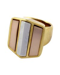 Vince Camuto | Pink Tri Tone Block Ring | Lyst