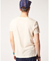 ASOS Natural Tshirt with Contrast Tape Pocket and Speckle Fabric for men