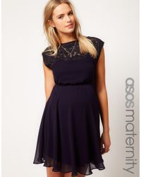 ASOS Black Asos Maternity Exclusive Skater Dress with Lace Insert