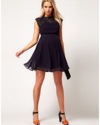 ASOS Purple Asos Maternity Exclusive Skater Dress with Lace Insert