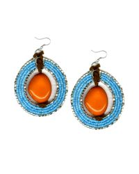 Falchi By Falchi - Metallic Orange and Blue Seed Bead Gypsy Hoop Earrings - Lyst