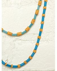 Free People - Multicolor Vintage Blue and Yellow Beaded Necklaces - Lyst