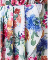 Love Love Chiffon Floral Bouquet Wrap Dress With Dip Hem