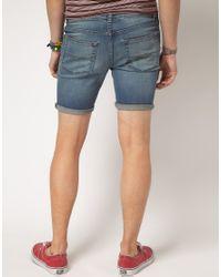 ASOS Blue Asos Skinny Denim Shorts for men