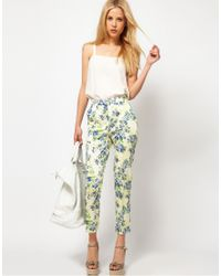 ASOS Collection | Blue Asos Ankle Grazer Trousers in Floral Print | Lyst