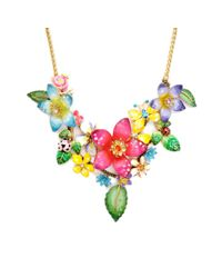 Betsey Johnson - Metallic Flower Cluster Statement Necklace - Lyst