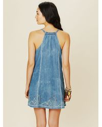 Free People Blue Button Down Denim Dress