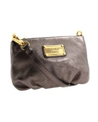 Marc By Marc Jacobs | Gray Classic Q Metallic Leather Percy Bag | Lyst