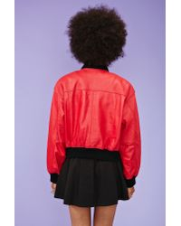 Nasty Gal Red Fly Girl Leather Bomber