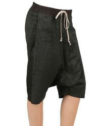 Rick Owens Black Blistered Nappa Leather Shorts