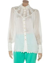 Temperley London | White Valencia Silkcloqué and Lace Blouse | Lyst