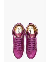 Saint Laurent Purple Suede Malibu Sneakers