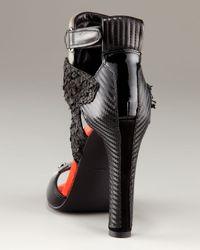 Alexander Wang | Black Chloe Mixed-Media Ankle-Wrap Sandal | Lyst