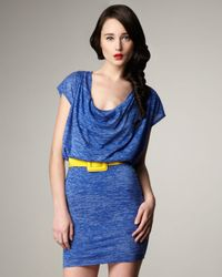 Alice + Olivia | Blue Cobalt Cowl-Neck Drape Dress | Lyst