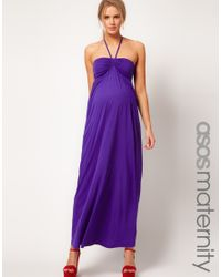 ASOS Purple Asos Maternity Maxi Dress with Ruched Bust