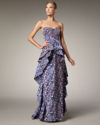 Badgley Mischka | Blue Strapless Ruffle Gown | Lyst