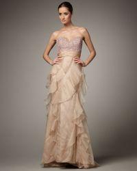 Badgley Mischka Natural Strapless Sequin-top Ruffle Gown