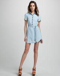 Burberry Brit Blue Belted Denim Dress