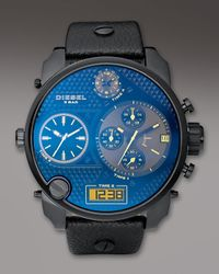 DIESEL | Black Round Chronograph Watch for Men | Lyst