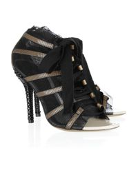 Dolce & Gabbana Black Meshoverlay Patent Leather Sandals
