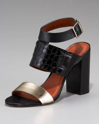 Elizabeth and James Black Colorblock Chunky-heel Sandal