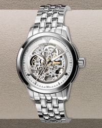 Emporio Armani | Metallic Automatic Skeleton Bracelet Watch for Men | Lyst