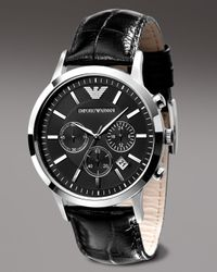Emporio Armani | Black Ar2411 Stainless Steel And Leather Watch for Men | Lyst