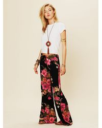 Free People Multicolor Floral Drawstring Bell Bottoms