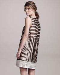 Giambattista Valli Brown Zebra-print Shift Dress