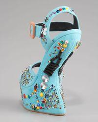 Giuseppe Zanotti Blue No Heel Crystal-studded Sandal