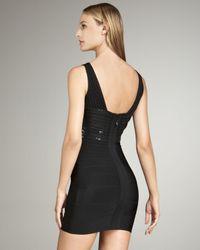Hervé Léger Black Sequin-waist Bandage Dress