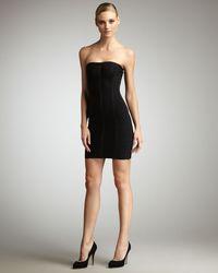 Hervé Léger - Black Strapless Bandage Dress - Lyst