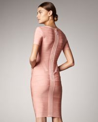 Hervé Léger Pink Square-neck Bandage Dress