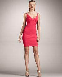 Hervé Léger Pink V-neck Bandage Dress