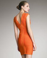 Hervé Léger Orange Crisscross Bandage Dress