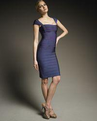 Hervé Léger Blue Essential Cap-sleeve Bandage Dress