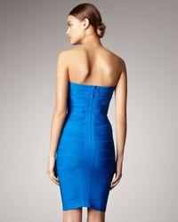 Hervé Léger Blue Strapless Bandage Dress
