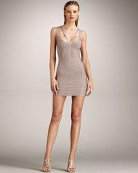Hervé Léger Natural Halter Bandage Dress