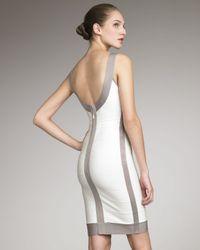 Hervé Léger White Contrast-trim Basic Bandage Dress