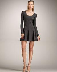Hervé Léger Gray Flare-skirt Contour Dress, Shadow