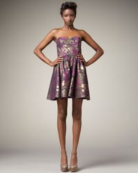 Jay Godfrey | Purple Metallic Floral-print Dress | Lyst